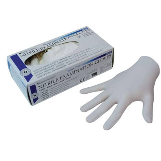 AKCIÓ-Kesztyű Nitril púderm. fehér 5+1